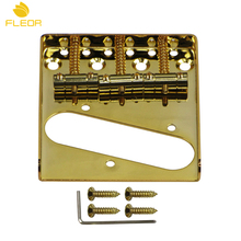 FLEOR Zinc Alloy Bridge Tele Electric Guitar 3 Saddle Bridge Golden For Telecaster Style Guitar(China)