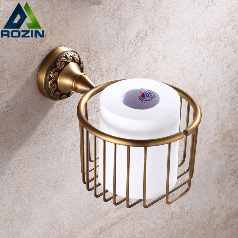 Antique Brass Bathroom Wall Mounted Toilet Paper Basket Roll Paper Holder Bathroom Storage Rack<br>