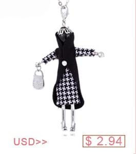 Terror Skull Figure Necklace Women Girl Crystal Bow Yarn Colour Dress Wear Hat Doll Pendant Necklace Halloween Gifts Jewelry