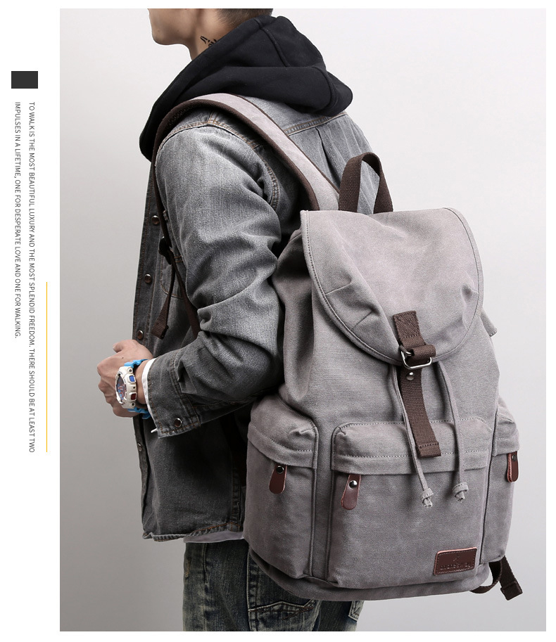 ATAXZONE Canvas Men's Backpack Large Capacity High Quality 15-inch Casual Rravel Universal Backpack Travel Bag Hiking Backpacks 7 Online shopping Bangladesh
