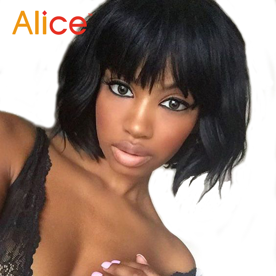 ALICE Human Hair Bob Wigs Short Human Hair Wigs Lace Front Wig With Bangs Full Lace Human Hair Wigs For Black Women<br><br>Aliexpress