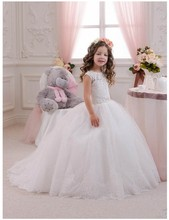 Princess Ball Gown Lace Flower Girl Dresses for Wedding Party Appliques Beaded First Communion Dress for Little Kids