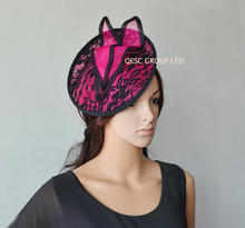 NEW Fuchsia hot pink black Sinamay fascinator lace Fascinator for Wedding. FREE SHIPPING