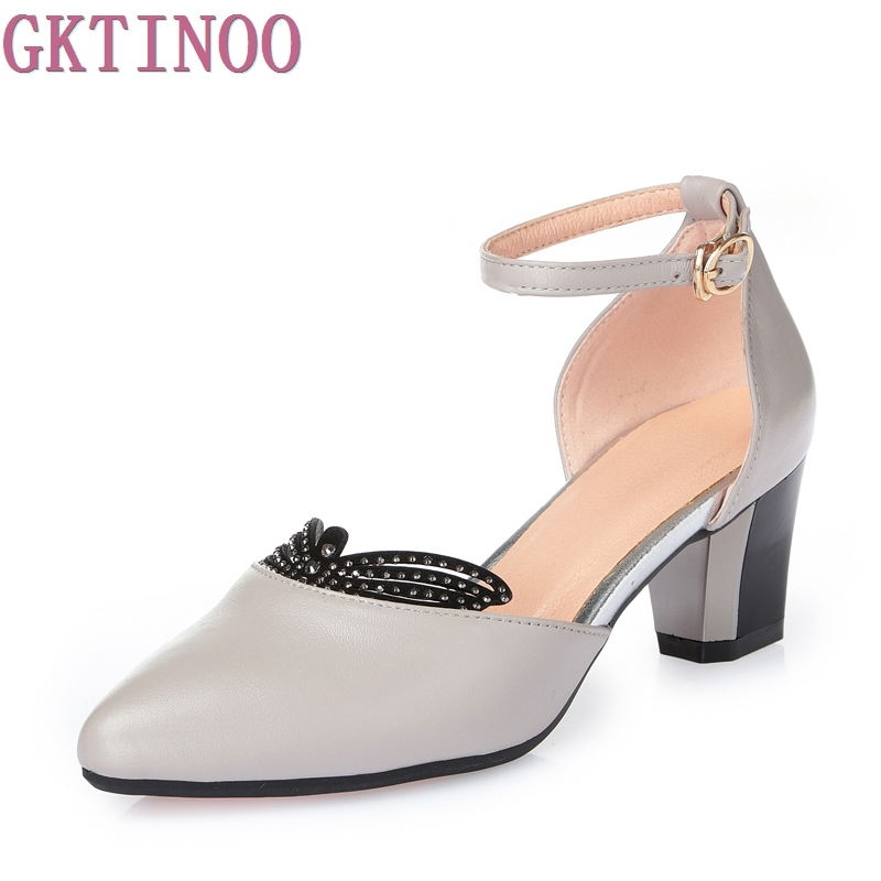 Genuine Leather Shoes Women Sandals Peep Toe Thick Heels Sandals Rhinestone Ladies Summer Shoes<br>