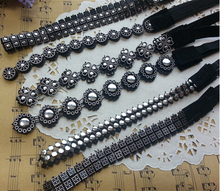 12pcs lady women's 2014 hot new Elastic sequins headband fashion black color hair wear hair accessories