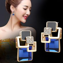 Hot Fashion Brincos Vintage Long Square Crystal Earring Big Geometric Stud Earrings For Women Classic Gold-Color Fine Jewelry(China)