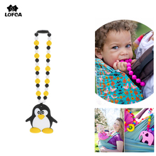 Penguin Silicone Pacifier Clips Teether Silicone Teething Necklace Carrier Chain Safe Teething Toy Baby Teether BPA Free(China)