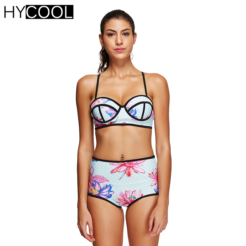 HYCOOL Vintage Bikini Set Swimsuit 2017 for Women Retro Print Black Purfle Bathing Suit Female Swim Suit Women Swimwear Biquini<br>
