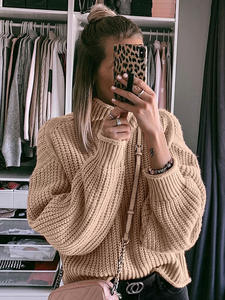 NLW Sweater Autumn Oversize-Jumper Fashion Pullover Knitted Long-Sleeve Turtleneck Women