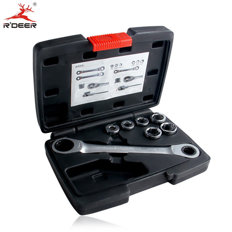 RDEER Socket Wrench Set Universal Key Ratchet Wrench Double End Socket Adapter Multifunctional Bicycle Repair Tools<br>