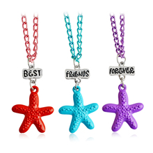 3pcs/set Best Friend Forever Lovely Spray Painting Style Three Colors Starfish Pendant Charm Necklace For Children Jewelry Gift(China)