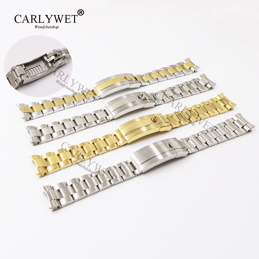 CARLYWET 20mm Two Tone Rose Gold Silver Solid Curved End Screw Link New Style Glide Lock Clasp Steel Watch Band Bracelet <br>