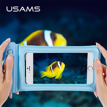 USAMS Ipx8 Waterproof Phone Bag Transparent Touchable Pouch Beach Airbag Underwater Phone Bag for Samsung iPhone 5 6 7 plus