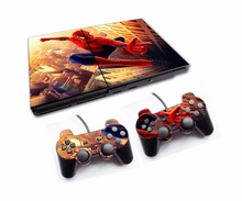 Spiderman Vinyl Decal Stickers for PS2 Console for PlayStation 2 Skin + 2PCS Controle Controller Stickers(China)