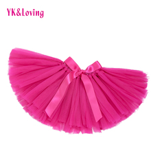 Pink Voile Tutu Skirts Mesh Baby Girl Pettiskirt 2017 Cute Newborn Girl Skirts Clothes Mini Bow Short Girls Summer Clothing(China)