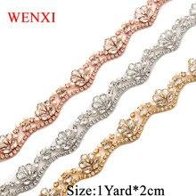 WENXI (1 YARD) Handmade Bridal Sash Beaded Sewing Rose Gold Crystal  Rhinestone Applique Trim Iron On For Wedding Dress WX810 b8ee2f4a94a5