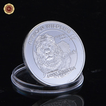 African Wildlife Animal Lion Style Silver Plated Coins Collection 999 Silver Plated Commemorative Coins Business Gifts