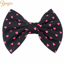 15pcs/lot 5 inches Girl Heart Polka Cotton Hair Bows Handmade Barrette 2017 DIY Hair Accessories Kids Headwear Women Hair Clip(China)