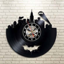 2017 Hot cd Vinyl Record Design Wall Clock Classic Batman Arkham City Logo Wall Clocks Quartz Mechanism Black Vinyl Record Reloj