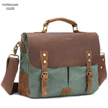 YUPINXUAN Luxury Handbags Canvas Messenger Bag Men Multifunctional Vintage Postman Bag Crazy Horse Messenger Bag Briefcase Retro