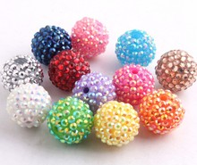 Kwoi vita Handmade Colorful 20mm/10mm to 26mm Chunky Resin Rhinestone Beads Ball for Kids Girls Jewelry Making(China)