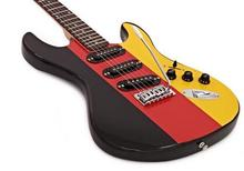 Free shipping customized guitar with Black-Red-Yellow paint;LP style headstock;22 frets;