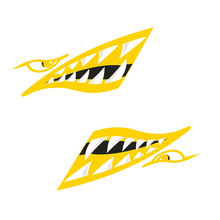 New 2 Pieces Vinyl Shark Teeth Mouth Decals Stickers for Kayak Canoe Inflatable Boat Yellow Window Door Wall Decoration Stickers(China)