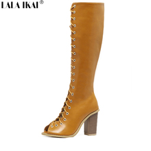 LALA IKAI Peep Toe Lace up Gladiator Knee High Boots 2017 Thick High Heel Boots Brand Design Boots XWC0637-5
