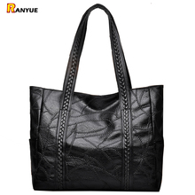 Knitting Patchwork Women Bag 2017 Black Large Soft Leather Bags Women's Handbags Ladies Bolso Female Shoulder Bags Big Tote Sac(China)