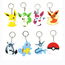 Mixed Colors 1Holder Pocket Monster keyrings Pikachu pvc silicone key chain Double Sided Pokemon Cartoon toys Keychain - LOST WAY 3A Store store