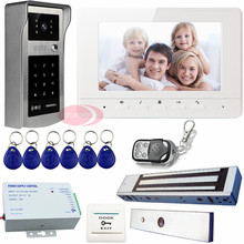 Video Phone Intercom Door Entry Intercom Systems Electric Magnetic Door Lock  Monitor 7 inches Color  Video Call Password Unlock