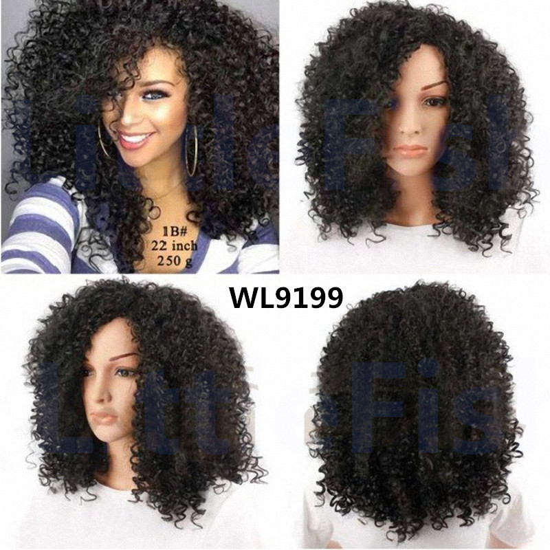 Synthetic afro Kinky Curly wigs Fashional Medium Length Kinky curly synthetic wig hair for Black Women curly wig free shipping<br><br>Aliexpress