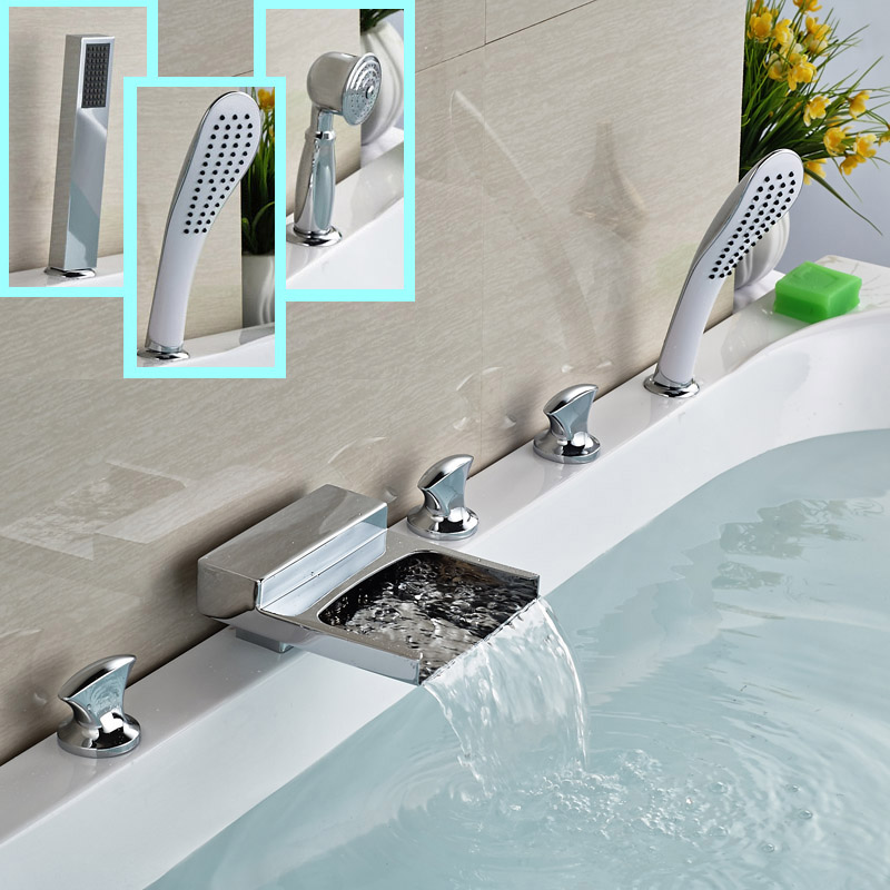 Brass Waterfall Spout Bath Tub Faucet Tap Deck Mount 5pcs with Hand Shower Tub Filler Chrome Finish<br><br>Aliexpress