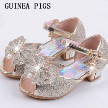 Children Sandals For Girls Weddings Girls Sandals Crystal High Heel Shoes Banquet Pink Gold Blue Gold GUINEA PIGS Brand(China)