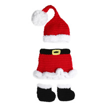 3pcs Baby Photo Props Hat Christmas Dress Shoes Newborn Baby Infant Crochet Knit Xmas Santa Costume Photography Props #LD789