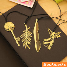 12 pcs/Lot Metal bookmark Gold plated Book holder feather marcador de livro marcapaginas Stationery Office School supplies A6641(China)