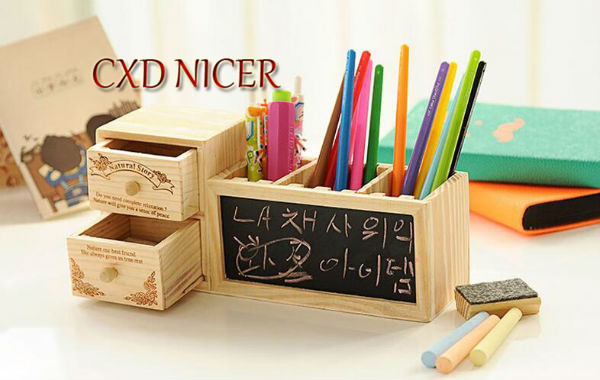 Fashion Tower Beard Desktop Hollow Wooden Pen Holder Office Stationary Supplies Accessories Double Drawer Pencil Holder Dd252 5