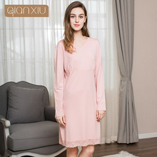 Qianqiu autumn 2017 ladies lace simple sleeping skirt lets you feel relaxed pure cotton comfortable breathable(China)