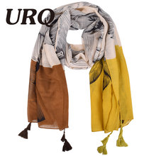 Women Flower Long Scarf Tassels Viscose Shawl Thin Big Scarves New Fashion Hot 2016 V9A18595