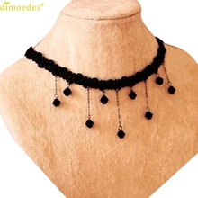 Diomedes Gussy Life 8 Wholesale Droplets Fall Fashion Black Lace Crochet Beads Necklace Collarbone Feb15(China)