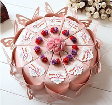 50 X Charming Butterfly Pink DIY Cake Candy Boxes With Card Flower Wedding Party Gift Box Paper Box 13*6.5*6 cm