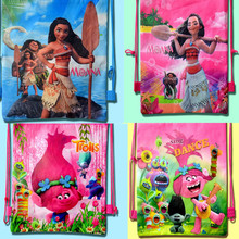 1 pcs Cartoon Troll And Moana Theme PE Printed 3D Receive Bag Shopping Bag Happy Birthday Party Kid Gift Toy