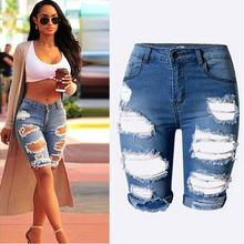 2017 new hot Hole Jeans Summer Lady Short Pants Trousers Fashion Women Denim Shorts Size M-2XL(China)