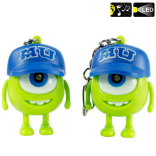 Hot cake Led Mick Wazowski Key ring 3D cartoon figure Monsters torch light Sound toys for Kid best Gift Wazowski toy 10pcs/lot