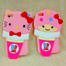 Cute 3D Ice Cream Minnie Hello Kitty My Melody Little Twin Stars Soft Silicon Case Cover With Lanyard For Iphone 6Plus 5.5inch
