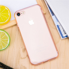 Phone cases for iPhone 7 7Plus Soft TPU silicone Clear Crystal Hard PC Colorful Frame back cover with Strap hole For iPhone 7 Pl
