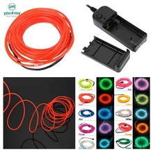 1M EL Wire Tube Rope Battery Powered Flexible Neon Light Car Party Wedding Decoration With Controller 2.3MM 3V EL Inverter