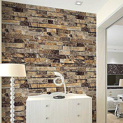 Q QIHANG Three-dimensional Wallpaper Brick Wall Wallpaper 3D Textured Bricks Beige 5.3m2<br>