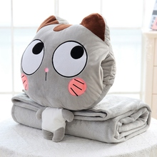 Candice guo plush toy stuffed doll cartoon animal cat blanket hand warm pillow cushion baby birthday present christmas gift 1pc