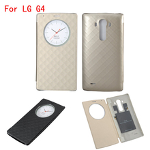 Quick Circle Case for LG G4 Flip Leather Battery Cover NFC Wireless Charging for LG G4 H815 Phone Cases with Smart Chip(China)